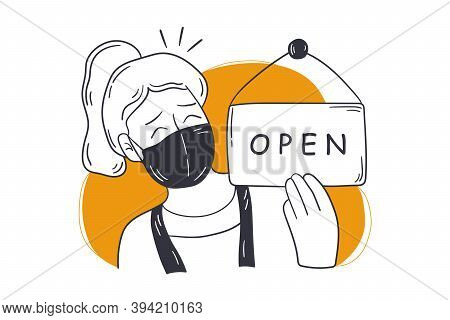 Reopening, Shop, Small Business Concept. Young Happy Woman Store Owner In Medical Face Mask Opening