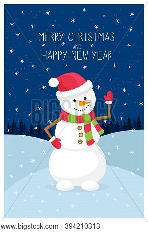 Template New Year, Christmas Greeting Card With The Words Merry Christmas. Snowman On The Background