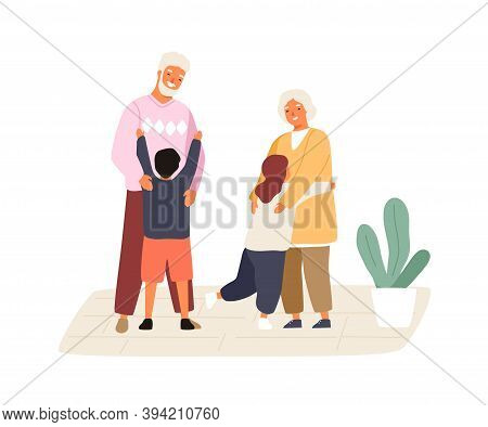 Happy Grandchildren Meeting And Hugging Grandmother And Grandfather. Cute Family Scene. Kids Visitin