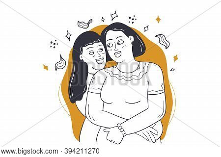Family Love, Holiday, Motherhood Concept. Young Girl Daughter Child Kid Teenager Cartoon Character H
