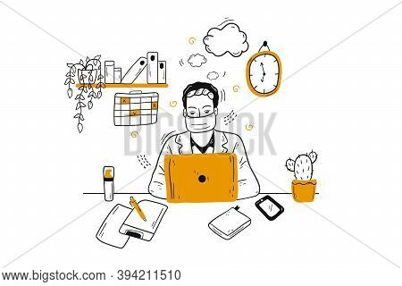 Business, Coronavirus, Remote Work Concept. Businessman Clerk Manager Employee Character With Medica