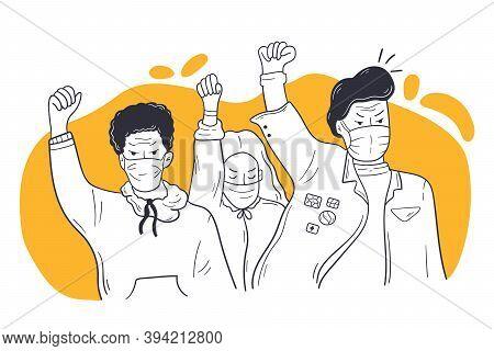 Social Protest, Coronavirus, Blm Riot Concept. African American People Men Women Protesters Particip