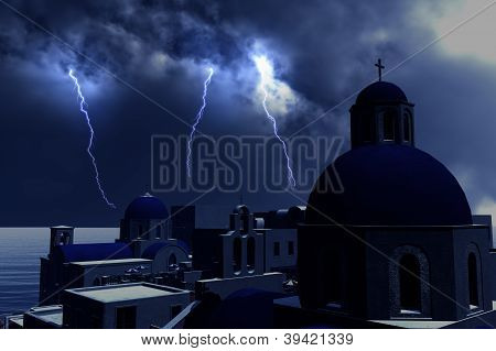 Thunderstorm Lightnings over Greece Concept for economical trouble in Greece