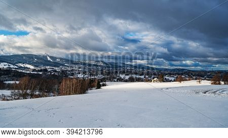 View Of Liberec Town With Mount Jested.