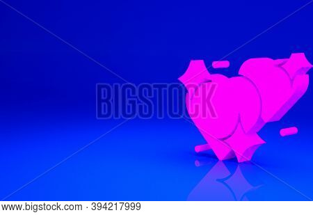 Pink Two Linked Hearts Icon Isolated On Blue Background. Romantic Symbol Linked, Join, Passion And W