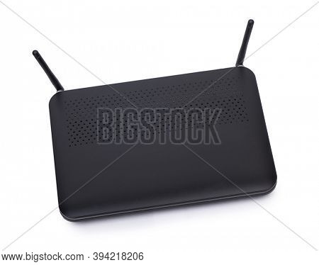 Black wi-fi router isolated on white background