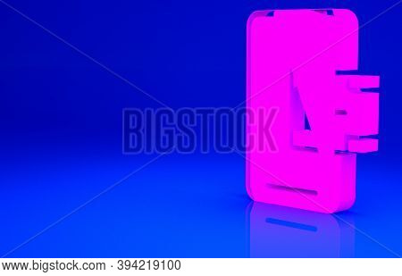 Pink Mobile Banking Icon Isolated On Blue Background. Transfer Money Through Mobile Banking On The M