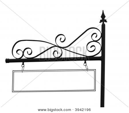 Ornate Sign Post With Copyspace