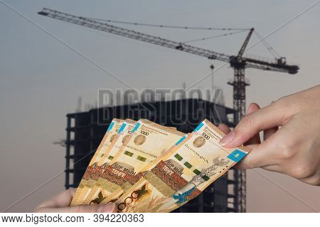 Rising Prices For Housing And Apartments In Kazakhstan. Kazakhstan Tenge Against The Background Of N