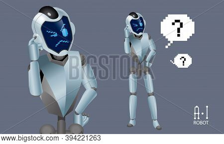 Vector Of An Artificial Intelligence (a.i) Robot. It Shows A Confusing Expression.