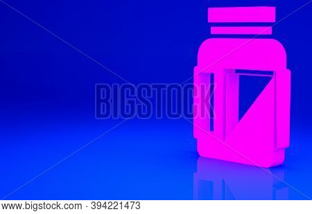 Pink Sports Nutrition Bodybuilding Proteine Power Drink And Food Icon Isolated On Blue Background. M