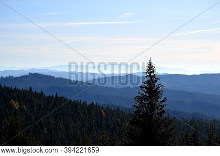 View Of The Ridges Of The Beskydy Mountains With The Peaks Of The Mountains In The Slovak Orava In T