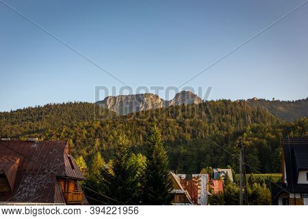 Giewont Mountain (sleeping Knight) With Coniferous Forest In Tatra Mountains In Poland And Tradition