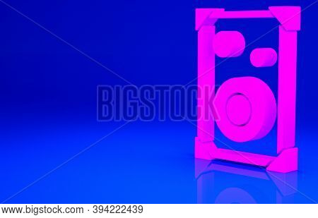 Pink Stereo Speaker Icon Isolated On Blue Background. Sound System Speakers. Music Icon. Musical Col
