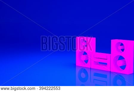 Pink Home Stereo With Two Speaker S Icon Isolated On Blue Background. Music System. Minimalism Conce