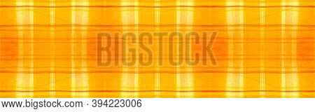 Yellow Tartan Background. Watercolor Check Repeat. Man Traditional Stripes For Twill Print. Seamless