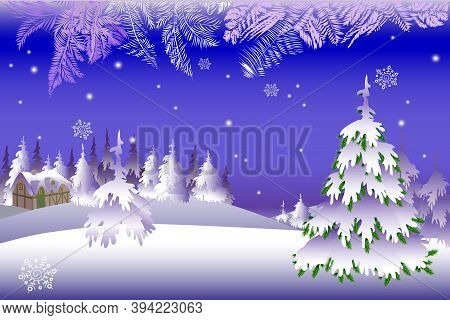 Vector Illustration Of A Snowy Winter. Snowy Winter With A House And Trees.
