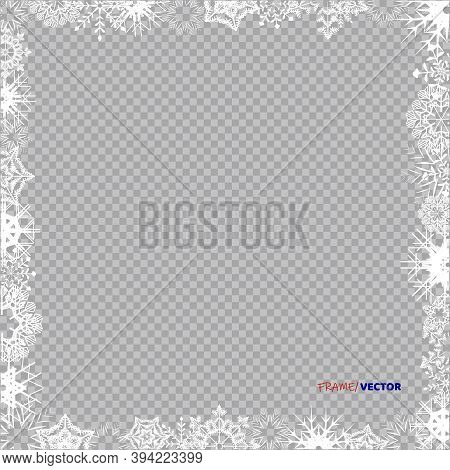 Empty Frame With White Snowflakeson A Whole Leaf. Vector Winter Holiday Ice Ornament Border For Desi