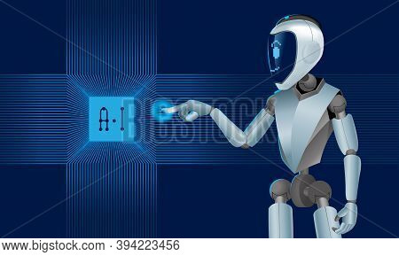 Vector Of An Artificial Intelligence (a.i) Robot. With Cyber Feel Background.