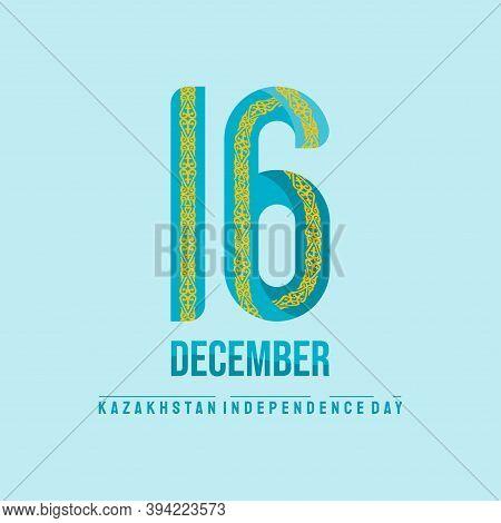 Kazakhstan Independence Day Design With Ornamental Typography Number 16 For 16 December Celebration
