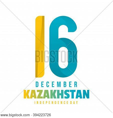 Kazakhstan Independence Day Design With Typography Number 16 For 16 December Celebration Day. Good T
