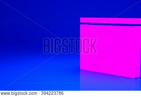 Pink Building Of Fire Station Icon Isolated On Blue Background. Fire Department Building. Minimalism