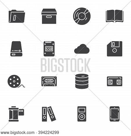 Storage Data Vector Icons Set, Modern Solid Symbol Collection, Filled Style Pictogram Pack. Signs, L