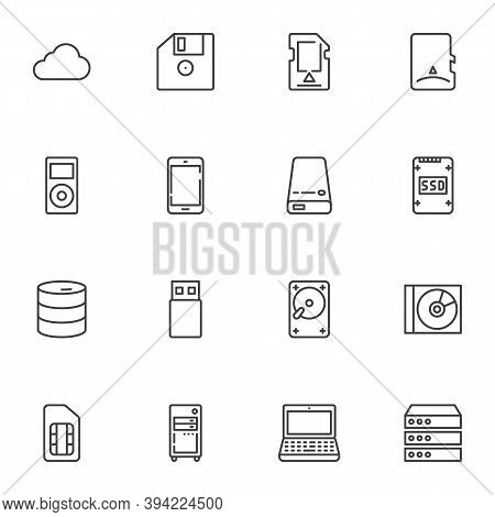 Data Storage Line Icons Set, Outline Vector Symbol Collection, Linear Style Pictogram Pack. Signs, L