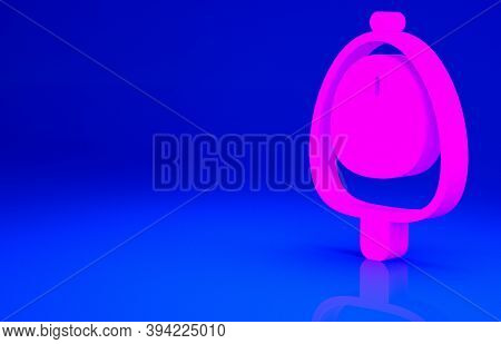 Pink Toilet Urinal Or Pissoir Icon Isolated On Blue Background. Urinal In Male Toilet. Washroom, Lav