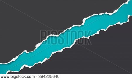 Pieces Of Torn, Ripped Black, Paper With Soft Shadow Are On Turquoise Background For Text. Vector Il