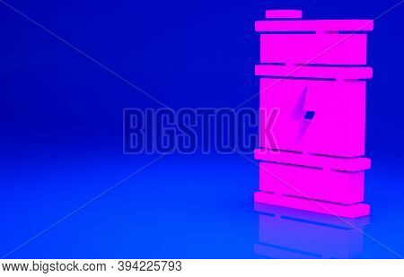 Pink Bio Fuel Barrel Icon Isolated On Blue Background. Eco Bio And Canister. Green Environment And R