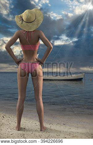 A Back View Of Beautiful Woman In The Beach, 3d Render
