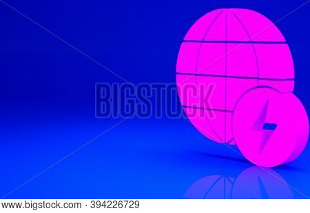 Pink Global Energy Power Planet With Flash Thunderbolt Icon Isolated On Blue Background. Ecology Con