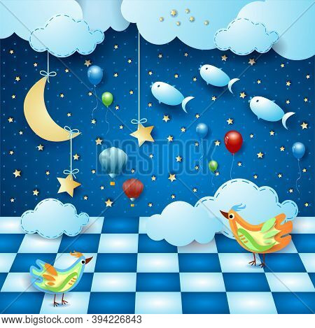 Surreal Night With Room, Moon, Balloons, Birds And Flying Fishes. Vector Illustration Eps10