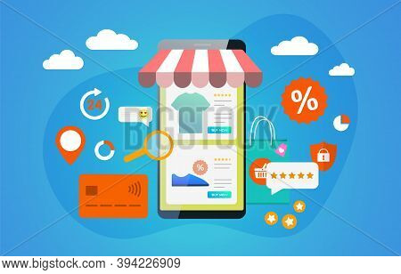 E-marketing, Mobile Marketing Concept. Online Shopping On Webshop, Internet Stores With Mobile Phone