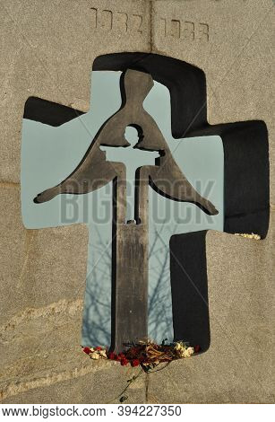 Kyiv, Ukraine - November 06, 2020: Holodomor Memorial In A Shape Of A Cross With A Silhouette Of A W