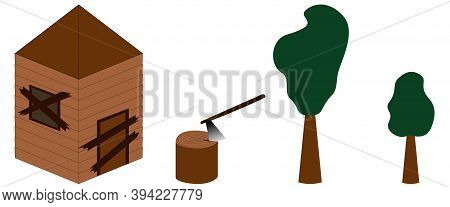 Old Abandoned House. Stump With Ax. Different Size Trees. Isometric Isolated Vector Illustrations. D