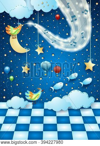 Fantastic Landscape With Floor, Music And Wave Of Sparkles. Vector Illustration Eps10