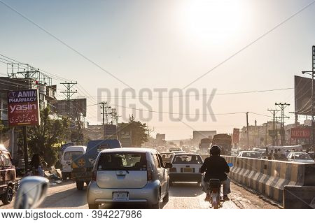 Rawalpindi / Pakistan - October 31, 2015: Busy Traffic Congested Motorway In Rawalpindi City In Paki