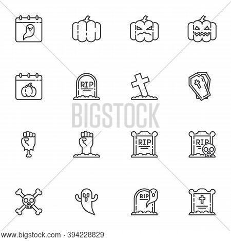 Happy Halloween Line Icons Set, Outline Vector Symbol Collection, Linear Style Pictogram Pack. Signs