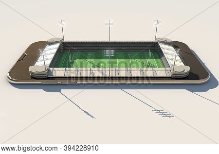 A Digital To Physical Concept Showing A Smartphone With A Floodlit Rugby Stadium Built Into The Scre