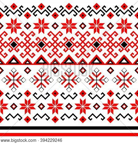 Bulgarian Balkan National Folklore Embroidery Style Red, White And Black Ornamental Seamless Vector