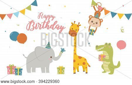 Vector Illustration Of Happy Birthday Animal With Gift Box , Balloon Decoration For Greetings Card.s