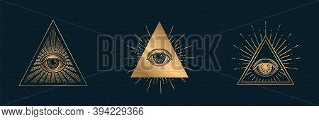 All Seeing Eye Vector, Illuminati Symbol In Triangle With Light Ray, Tattoo Design Isolated On Black
