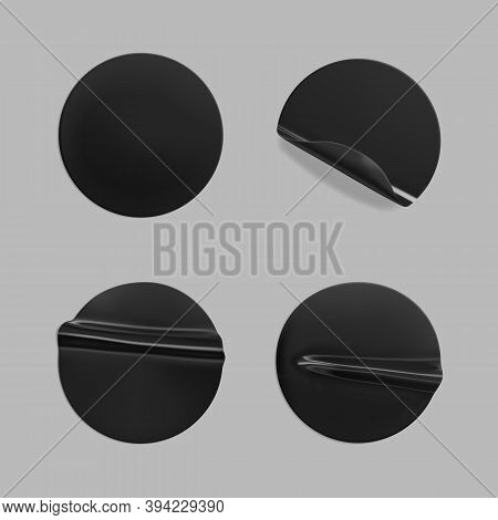 Black Glued Round Crumpled Sticker Mockup Set. Adhesive Black Paper Or Plastic Stickers Label With G
