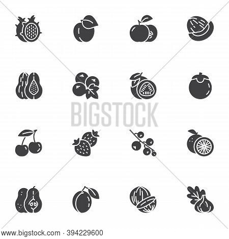 Healthy Fruit Vector Icons Set, Modern Solid Symbol Collection, Filled Style Pictogram Pack. Signs,
