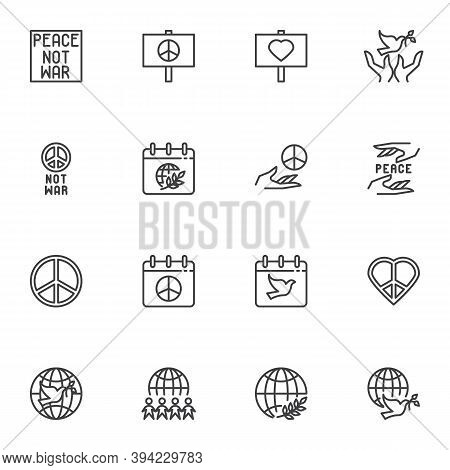 Peace Day Line Icons Set, Outline Vector Symbol Collection, Linear Style Pictogram Pack. Signs, Logo