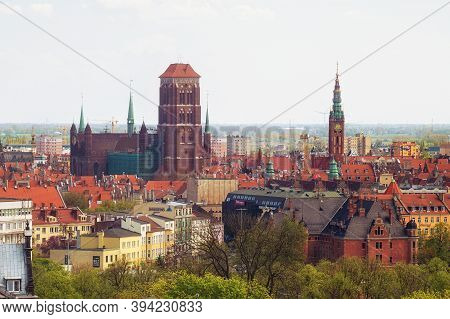 Gdansk, Poland - May 14, 2017: Panorama Of The Old Town In The Historical Part Of Gdansk. With View