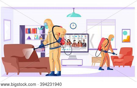 People In Protective Suit Disinfects The Living Room Or Office With Spray Gun. Concept Of Coronaviru