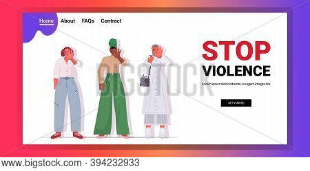 Mix Race Scared Terrified Women With Bruises On Face Stop Violence And Aggression Concept Horizontal